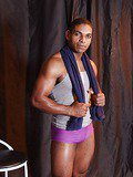 Muscle bound Ebony God shows off his throbbing shaft