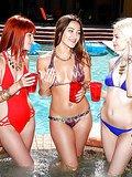 3 super hot bikini teens finger fucked hard pool lesbians bikini group sex party