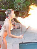 Amazing bikini babes nikki and shay play by the pool with amazing  fire breather babe then head home for some hot pussy licking and dildo fucking action in these streamy pics and big video update
