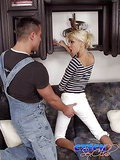 Bodacious blonde Czech babe sucking and riding a massive cock