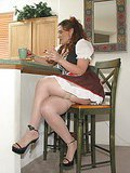 Brunette slave in stockings Jessica getting tied up on the chair
