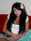 Elegant brunette babe Josie stripping seductively for you